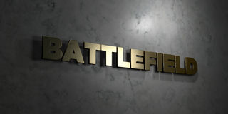 Battlefield - Gold text on black background - 3D rendered royalty free stock picture. This image can be used for an online website banner ad or a print Royalty Free Stock Photography