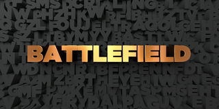 Battlefield - Gold text on black background - 3D rendered royalty free stock picture. This image can be used for an online website banner ad or a print Stock Photo