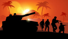 Battlefield. A group of soldiers and a military tank. Vector illustration Royalty Free Stock Images