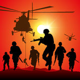 Battlefield. Helicopter is dropping the troops. Vector illustration Stock Photography