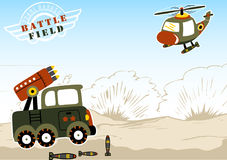 Battlefield. Military vehicle ready to fire a helicopter, vector cartoon illustration. EPS 10 Royalty Free Stock Image