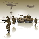 Battlefield. Tank and group of soldiers running across the field. Vector illustration Stock Photos