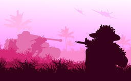 Battlefield. Vector silhouette of soldier war in battlefield, military concept Stock Photos