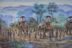 Battlefield Wall paintings. Wall paintings about history Battlefield of King Naresuan the Great Story Stock Images