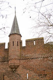 Battlement in city defense wall Royalty Free Stock Image