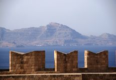 Battlements on Acropolis Stock Photos