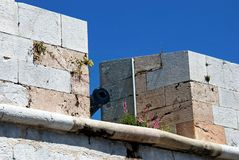 Battlements with Canon, Gibraltar. Royalty Free Stock Photos