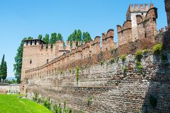 Battlements of the castle Castelvecchio is a castle in Verona, northern Italy. Battlements of the castle Castelvecchio Italian: `Old Castle` is a castle in royalty free stock image