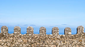 The Battlements of the Castle. View of a line of battlement in the Castle of the Moors in Sintra, Portugal Royalty Free Stock Photography