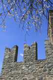 Battlements in Fenis castle Royalty Free Stock Photography