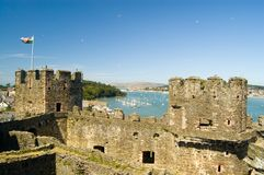 Battlements and harbour Stock Photography