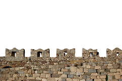 Battlements isolados da parede do castelo do castelo de Kos Foto de Stock Royalty Free