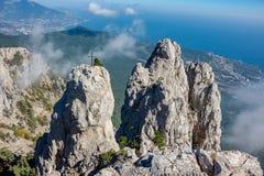 Battlements of Mount Ai-Petri, Crimea. The south coast of Crimea. Battlements of Mount Ai-Petri, Crimea royalty free stock image