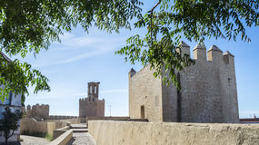 Battlements, pathways and towers of Badajoz muslim wall, Spain Royalty Free Stock Image