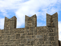 Battlements of the Tower of the medieval castle Royalty Free Stock Photo