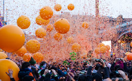 Battles of Taronjada during Carnival time in Barcelona Stock Images