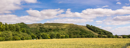 Battlesbury-Hügel in Wiltshire-Panorama Lizenzfreie Stockfotos