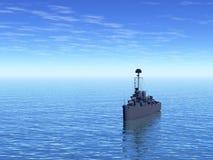Battleship. Military battleship at sea vector illustration