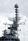 Battleship. Navigation equipment of the modern battleship stock photos
