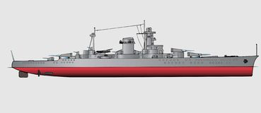 Battleship. Military navy ships .Vector art illustration of battleship Royalty Free Stock Images