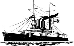 Battleship. Vector illustration of a steam Battleship black and white Stock Image