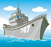 Battleship. Cartoon Battleship Out to sea Royalty Free Stock Images