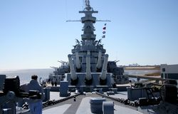 Battleship. USS Alabama battleship memorial, view of forward deck looking aft Royalty Free Stock Photos