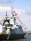 Battleship. Battleship  with different signal flags Stock Photos
