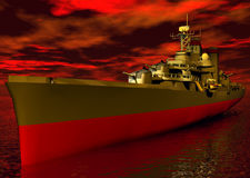 Battleship. 3D battleship with Armageddon red sky stock illustration