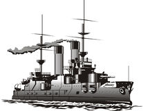 Battleship. Vector art of a steam Battleship Royalty Free Stock Images