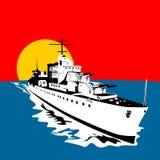 Battleship with big guns Royalty Free Illustration