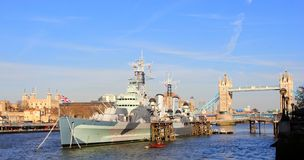 Battleship British Navy in London Royalty Free Stock Images