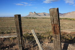 Battleship Butte Through a Fence Royalty Free Stock Image