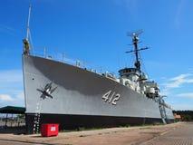 Thai Battle ship. Cloud and blue sky,,thai battle ship Royalty Free Stock Photo