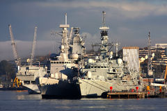 Battleship in the dock, Plymouth, U Stock Image