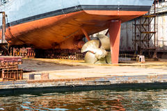 Battleship on the dock Royalty Free Stock Photo