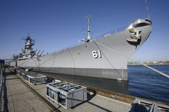 Battleship docked Royalty Free Stock Photography