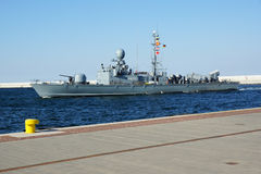 Battleship in Gdynia Royalty Free Stock Photography