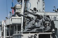 Battleship guns. The main guns on the WWII Navy destroyer USS Cassin, Boston, Mass Stock Image