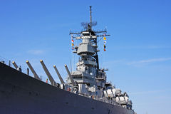 Battleship. Guns on a naval battleship royalty free stock photo