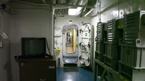 Battleship hallway doors stock footage