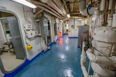 Battleship hallway doors. HONOLULU, OAHU, HAWAII, USA - AUGUST 21, 2016: hallway doors between rooms of Battleship Missouri at Pearl Harbor. The end World War II Royalty Free Stock Images