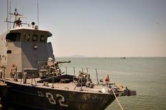 Battleship at harbor in thailand. Royalty Free Stock Image