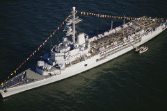 Battleship at  Independence day Stock Images