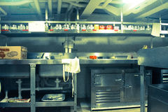 Battleship Kitchen. Kitchen of the USS Missouri located below deck Royalty Free Stock Photography