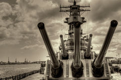Battleship Missouri. USS Missouri - decommissioned battleship USA in Pearl Harbor Hawaii Stock Image