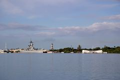 Battleship Missouri And Arizona Memorials - Pearl Harbor Stock Images