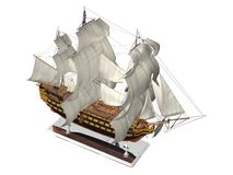 Battleship model. Model of HMS Victory on silver stand isolated on white - top view Stock Photos