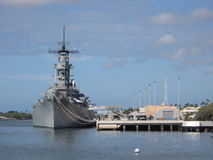 Battleship in Pearl Harbor Royalty Free Stock Photos