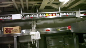 Battleship preparation room. HONOLULU, OAHU, HAWAII, USA - AUGUST 21, 2016: preparation room with food storeroom of Battleship Missouri at Pearl Harbor. National stock video footage